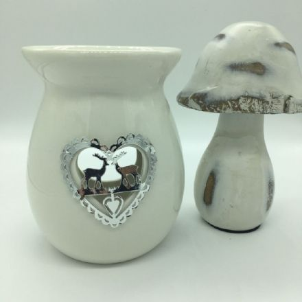 White & Silver Stags, Reindeer Heart Wax Burner & Melts